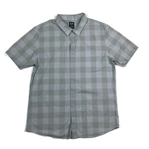 Oakley Button Up Shirt Gray Checkered Print